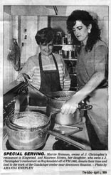 Guadalupe center meets needs - Special Serving - April 5, 1989, Marcie Brennan, Owner of J. Christopher's restaurant in Kingwood, and Maureen Rivers, her daugher, who owns a J. Christopher's restaurant on Kuykendahl off of FM 1960, donate their time and food to the work of the Guadalupe center near downtown Houston.
