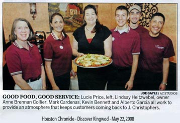 Houston Chronicle article on May 22, 2008 - Good Food, Good Service - J. Christopher's Pizza Pasta Family Restaurant.
